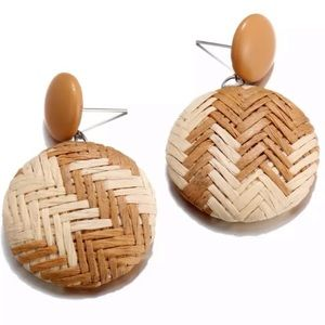 Handmade Rattan Knit Wicker Earrings